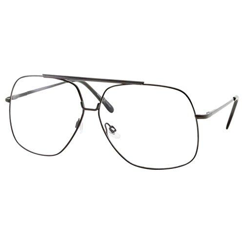 XL Mens Aviator Clear Lens Eye Glasses Square