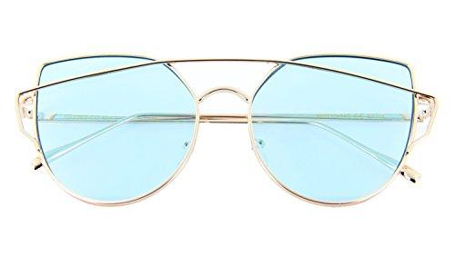 MJ Eyewear Premium Cat Eye Double Crossbar Sunglasses with Color Lens (GOLD, - Sunglasses Cog