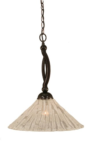 Toltec Lighting 271-BC-719 Bow One-Light Down light Pendant Black Copper Finish with Italian Ice Glass, 16-Inch