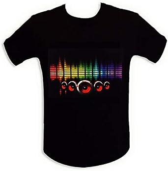 Camiseta de la luz brillante LED de altavoces de sonido ecualizador XL: Amazon.es: Ropa y accesorios