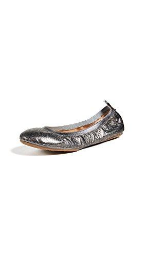Yosi Samra Women's Samara II Flats, Pewter, Metallic, Silver, 9 M US (Leather Metallic Ballet Flats)