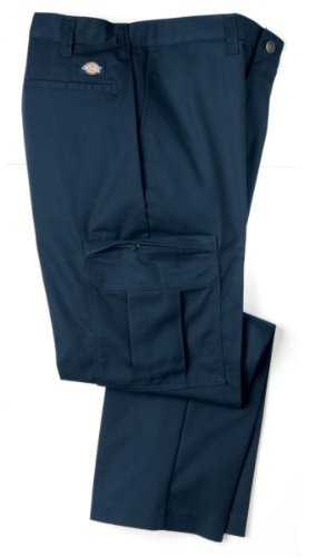 Dickies Occupational Workwear 2112372NV 32x34 Polyester/Cotton Relaxed Fit Men's Premium Industrial Cargo Pant with Straight Leg, 32