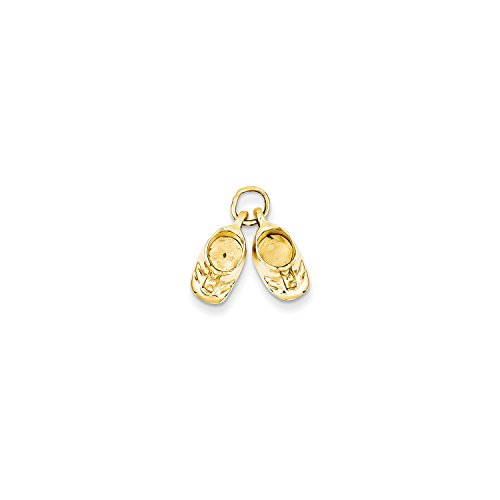 14k Polished Baby Shoes (Roy Rose Jewelry 14K Yellow Gold Polished Baby Shoes Charm)