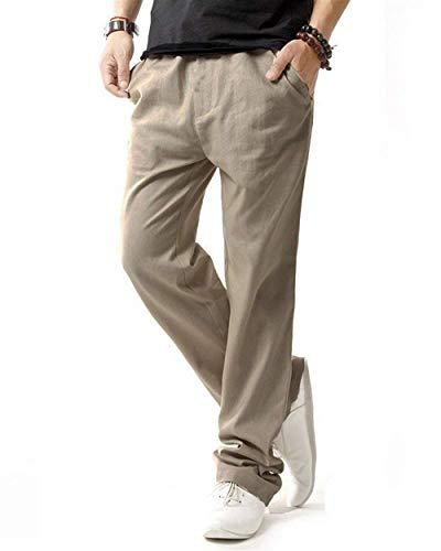 Pants Plage Latérales Couleur Lâche Basique Casual Linen Respirant Confortable Hommes Targogo Kaki Eté Léger Avec Poches Unie qnf4wxC