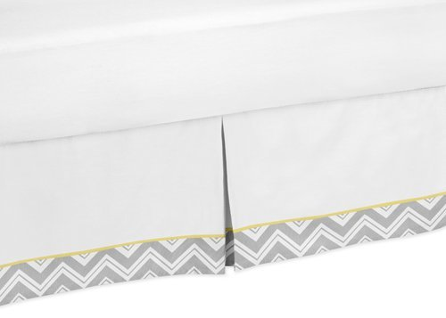 Sweet Jojo Designs Yellow and Gray Chevron Zig Zag Bed Skirt for Toddler Bedding Sets