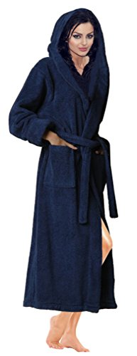 - SKYLINEWEARS Women's 100% Terry Cotton Bathrobe Toweling Hooded Robe Navy M