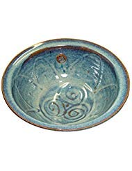 """Medium Serving Bowl Hand-Thrown Hand-Glazed in Ireland. Measures 10"""" Diameter 3.5"""" Height with Traditional Celtic Spiral Motif"""