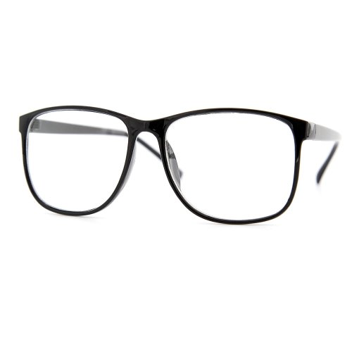 grinderPUNCH Large Nerdy Thin Plastic Frame Clear Lens Glasses
