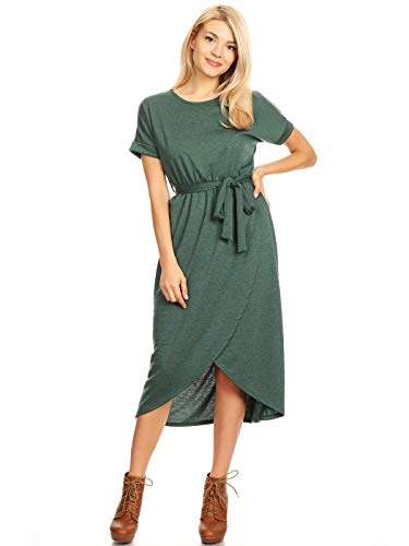 Anna-Kaci Roundneck French Terry Bottom Faux Wrap Midi Dress with Waist Tie, Hunter Green, -