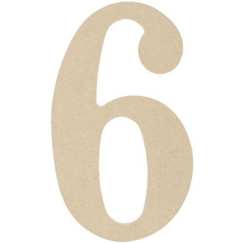 MPI MDF Classic Font Wood Letters and Numbers, 9.5-Inch, Number 6 (Letter 6 Wood Letters)