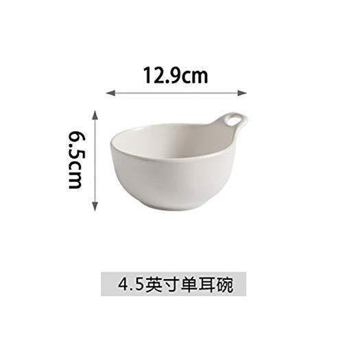 (Matte matte ceramic bowl black glaze with handle bowl single ear bowl salad bowl pudding bowl household rice bowl dessert bowl white 4.5 inch)