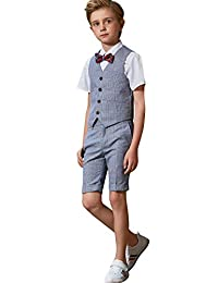 ELPA ELPA Boys Suits 4 Pieces Children's Slim Fit Summer Dress Plaid Formal Wear