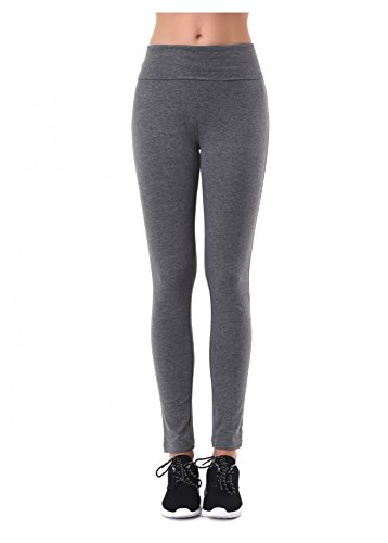 MOPAS Yoga Pants with Fold Over Solid Waistband Grey Size L ()