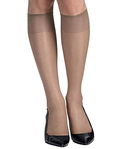 (Hanes Silk Reflections Sheer Toe Knee Highs 2-Pack, One Size, Soft Taupe)