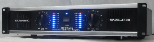 2 Channel 4500 Watts Professional Power Amplifier 2U Rack mount SYS-4500 MUSYSIC by MUSYSIC