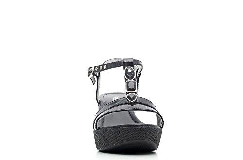 Nero Giardini femme Sandale compensée en cuir Item P615620D 100 Black P6 15620 D