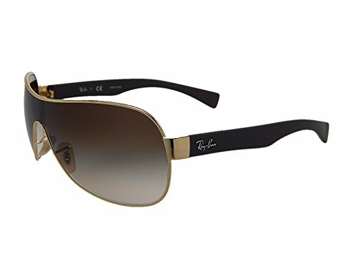 New Ray Ban RB3471 001/13 Gold/Brown Gradient Lens 32mm Sunglasses - Gradient Shield Lens Sunglasses