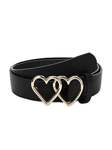 Double Heart Shaped Metal Buckle Belt For Women (Black) (Double Heart Buckle)