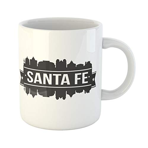 (Semtomn Funny Coffee Mug America Santa Fe Skyline Silhouette City Architecture Building Capital 11 Oz Ceramic Coffee Mugs Tea Cup Best Gift Or Souvenir)
