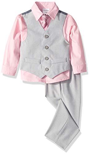 Van Heusen Baby Boys 4-Piece Patterned Dresswear Vest Set, Silver Rose Metal, 18 - Patterned Shirts Poplin Boys