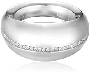 ESPRIT Women's Ring 925 Sterling Silver Rhodium Plated Glass Zirconia Ovality Glam White