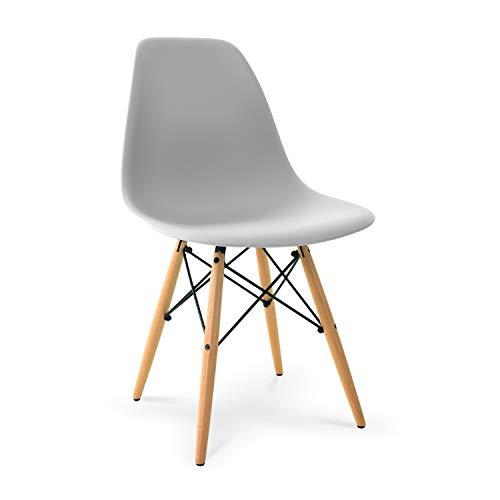 POLY & BARK EM-105-NAT-HRGY Vortex Side Chair, Single, Harbor Grey