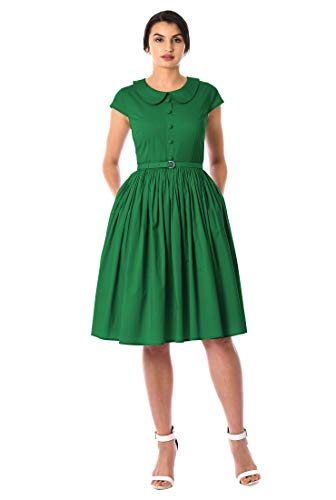 eShakti FX Peter Pan Collar poplin Belted Dress 3X-26W Juniper ()