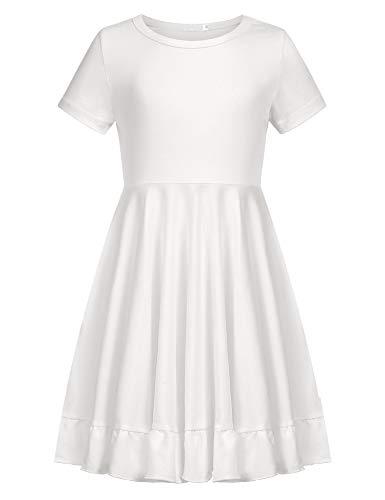 Zaclotre Girls Short Sleeve Casual Dress A-line Cotton Loose Twirly Hem Skater White