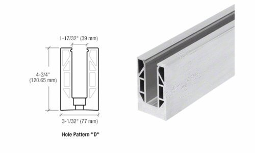 CRL Mill Aluminum 9BL Series Standard Square Base Shoe - Drilled With 13/16'' Holes in Pattern ''D'' 118-1/8'' Length