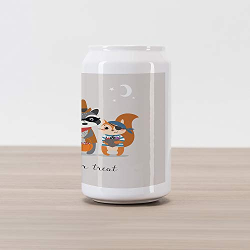 Ambesonne Ghost Cola Can Shape Piggy Bank, Trick or Treat Quote with Happy Forest Animals on Halloween Costumes Moon and Stars, Ceramic Cola Shaped Coin Box Money Bank for Cash Saving, Multicolor ()