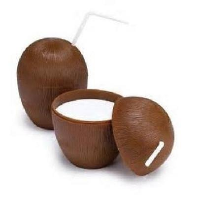 Bestbuystore US 72 COCONUT CUPS w/straws 16oz Wood Style Luau Party Brown Plastic by Bestbuystore US