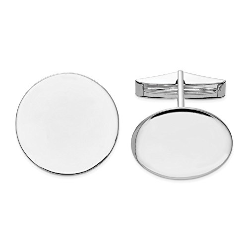 14k White Gold Circular Cuff Links Mens Cufflinks Man Link Fine Jewelry Gift For Dad Mens For Him ()