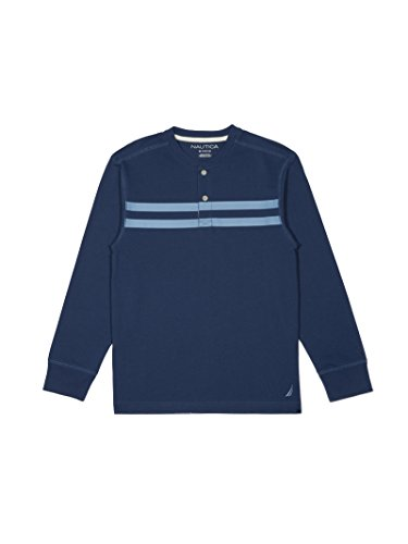 Nautica Big Boys' Long Sleeve Jersey Henley with Stripe , Dark Navy Blue , X-Large (18/20)