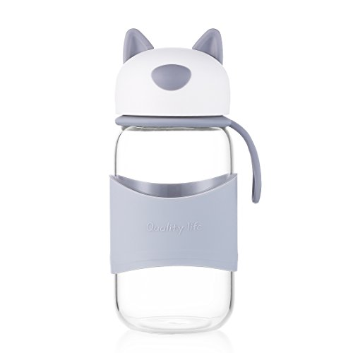 """Goodeserve"" 13 Ounce Glass Water Bottle, Cute Dog shape Portable Tea Cup with LeakProof Cap, Coffee/Juice Travel Mug, Perfect Gift for Kids or Girls 400ml GD8668 (Grey)"