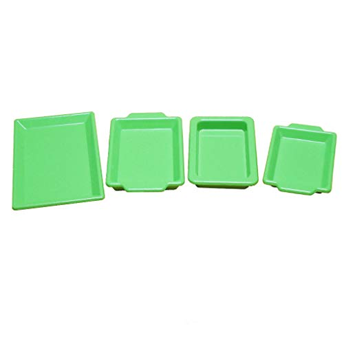 Brosco Dolls House Miniature Green Metal Food Drink Serving Trays Decor 1:12 Scale ()