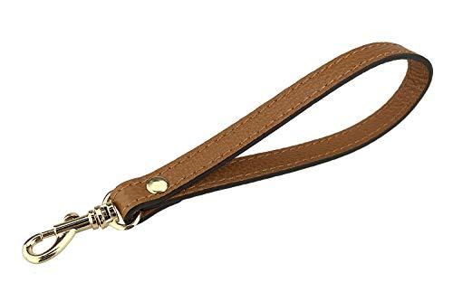 VanEnjoy Wristlet Keychain Cellphone Genuine Leather Hand Strap with Golden Lock (Brown)