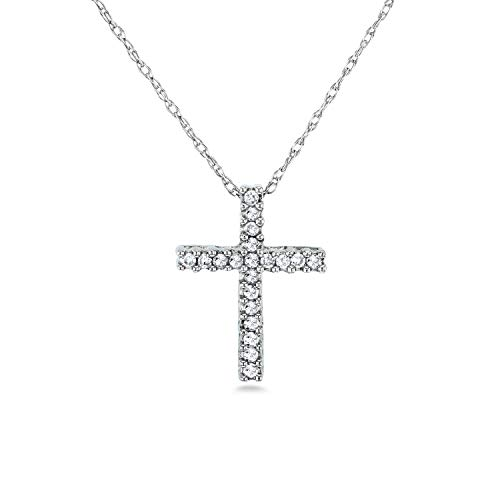 Shared Prong (Diamond Cross Necklace 1/10 Carat TDW Shared Prongs in 10k Gold, White)