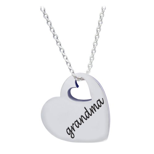 Sterling Silver 'Grandma' Heart Necklace with 18 Chain