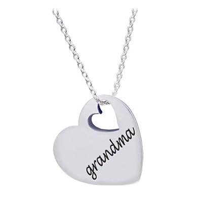 Amazon chuvora 925 sterling silver love grandma heart chuvora 925 sterling silver love grandma heart grandmother pendant necklace 18 inches aloadofball Image collections