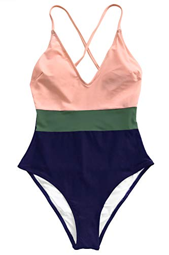 CUPSHE Women's Cross Block with Lining One-Piece Swimsuit ()