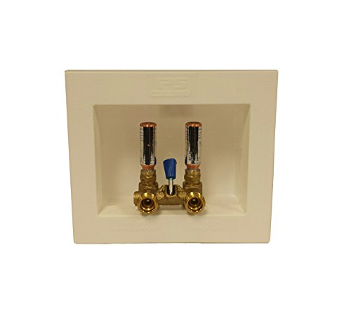 Water-Tite 85637 Du-All Dual Drain Washing Machine Outlet Box with Single-Lever Valve Installed, 1/2