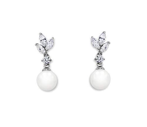 Ladorn Silver Earrings for Bridesmaids Drop Pearl Earrings for Brides Bridal Earrings Dangling Wedding
