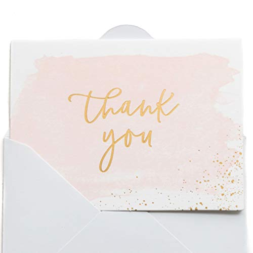 (Thank You Cards | 48 Blank Gold Foil Watercolor-Wedding Baby & Bridal)