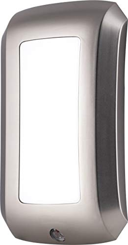 - Energizer LED Décor Night Light, Designer Finish, Plug-in, Soft White, Light Sensing, Dusk to Dawn Sensor, Energy-Efficient, Ideal for Hallways, Kitchens, Bathrooms, Bedrooms (Brushed Nickel)