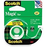 Scotch Magic Office Tape with Refillable Dispenser, 1/2'' x 450'' (Clear) Pack 2