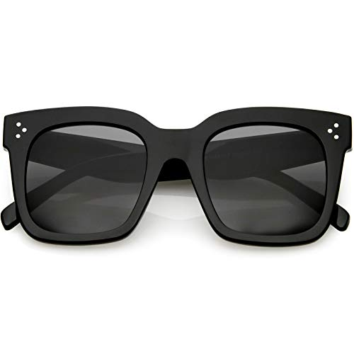 zeroUV - Bold Flat Lens Oversized Square Frame Horn Rimmed Sunglasses 50mm (Shiny Black/Smoke)