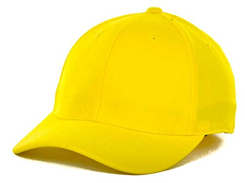 Top Of The World By Lids HOME RUN One-Fit Stretch Fitted Blank Baseball Hat Cap (One Size Fits Most, Lemon)
