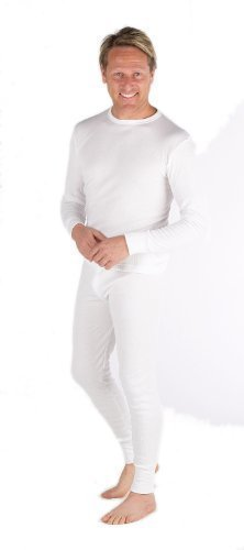 Set von 2: Herren Thermo-Unterwäsche - Langarm Weste u. lange Hose - Weiß/Anthrazit