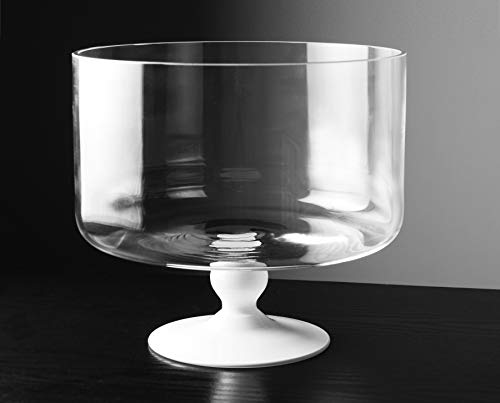 Barski - European Beautiful - Glass - Large Trifle Bowl - 9.25'' D - 170 oz - with Opal (white) Foot - Made in Europe by Barski (Image #4)