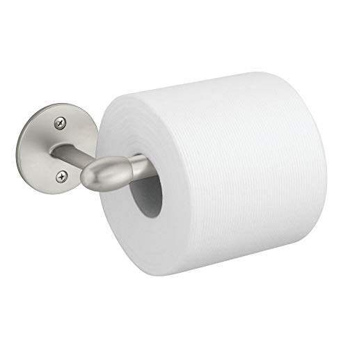 (mDesign Modern Metal Toilet Tissue Paper Roll Holder and Dispenser for Bathroom Storage - Wall Mount, Holds and Dispenses One Roll, Mounting Hardware Included - Satin )